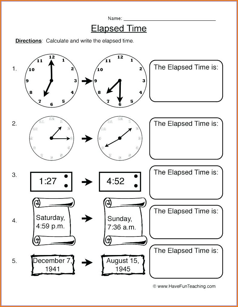 Printable Elapsed Time Worksheets 3rd Grade
