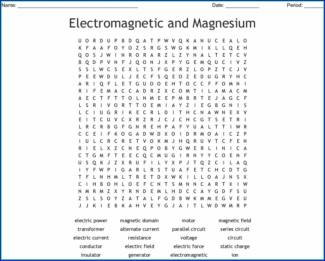 Printable Electricity Word Search