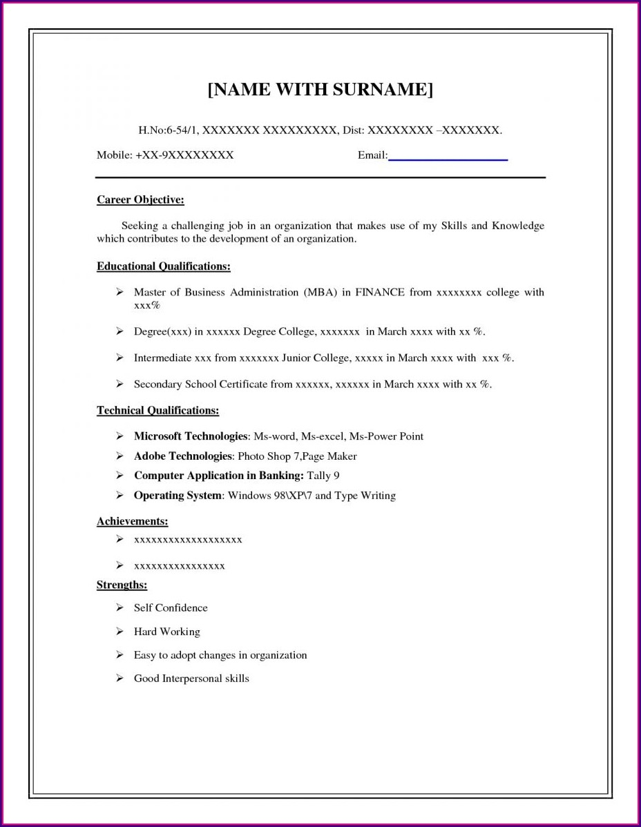 Printable Format Basic Resume Examples