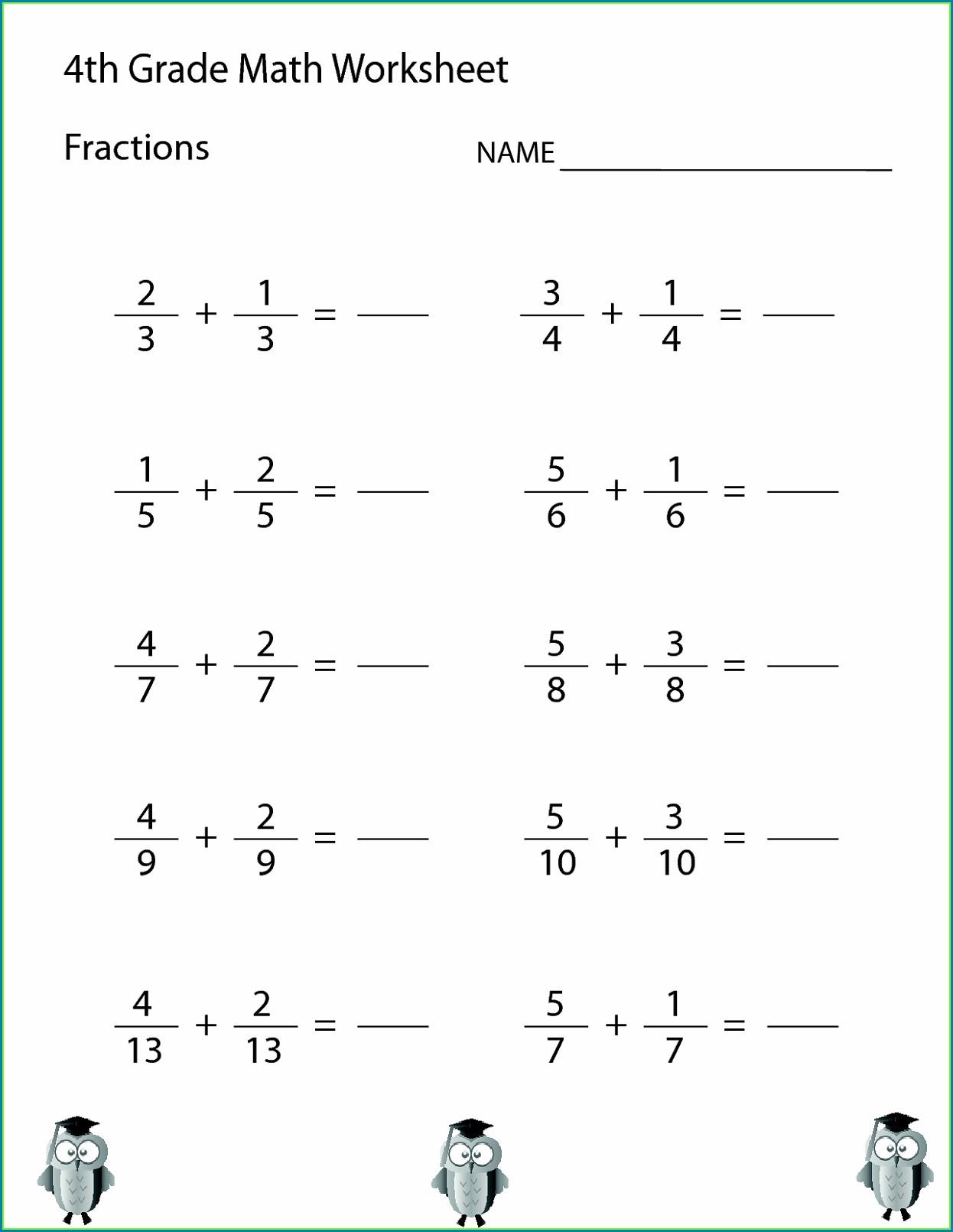 Printable Fourth Grade Math Worksheets