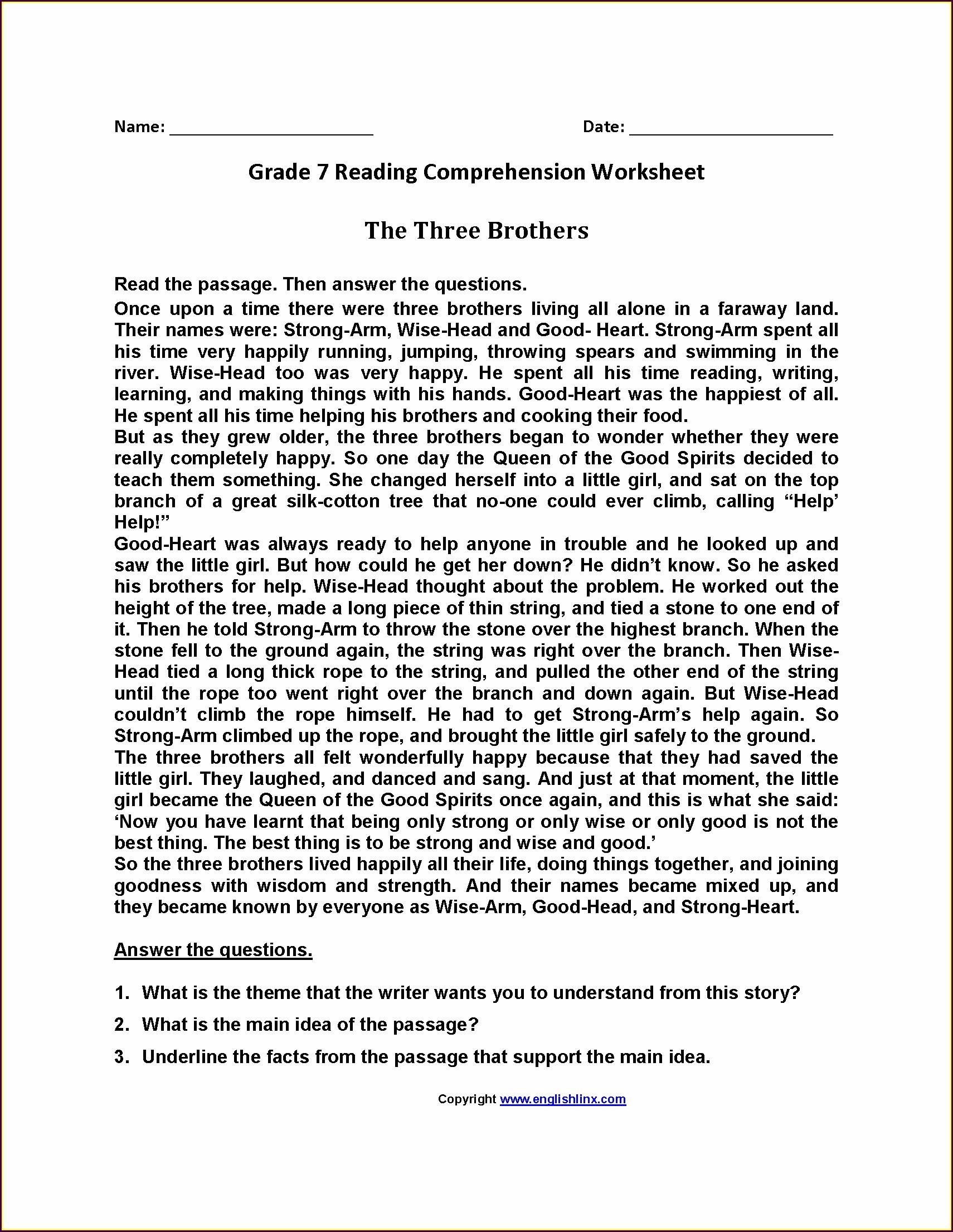 Printable Grade 7 English Worksheets