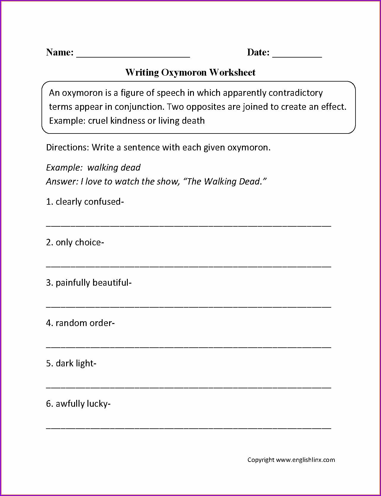 Printable Language Worksheets For Grade 5
