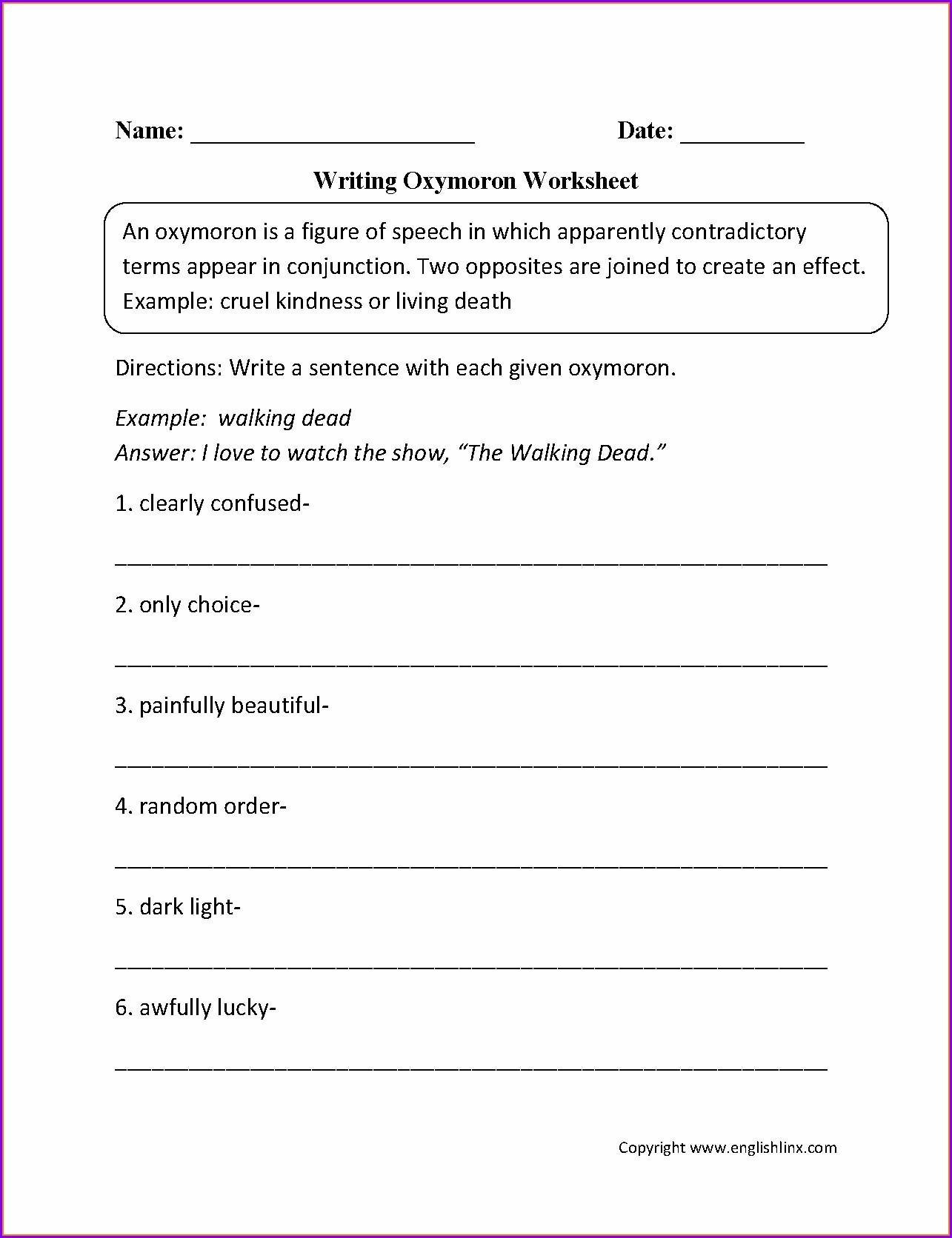 Printable Language Worksheets For Grade 5