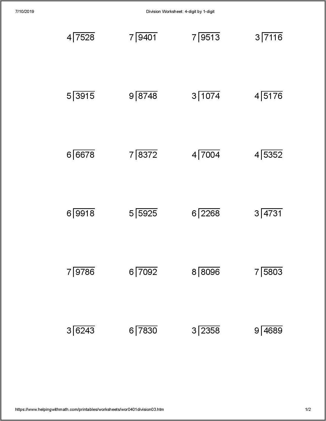 Printable Mental Math Worksheets Grade 2