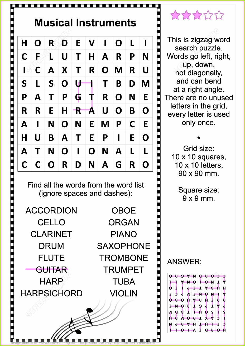 Printable Musical Instruments Word Search