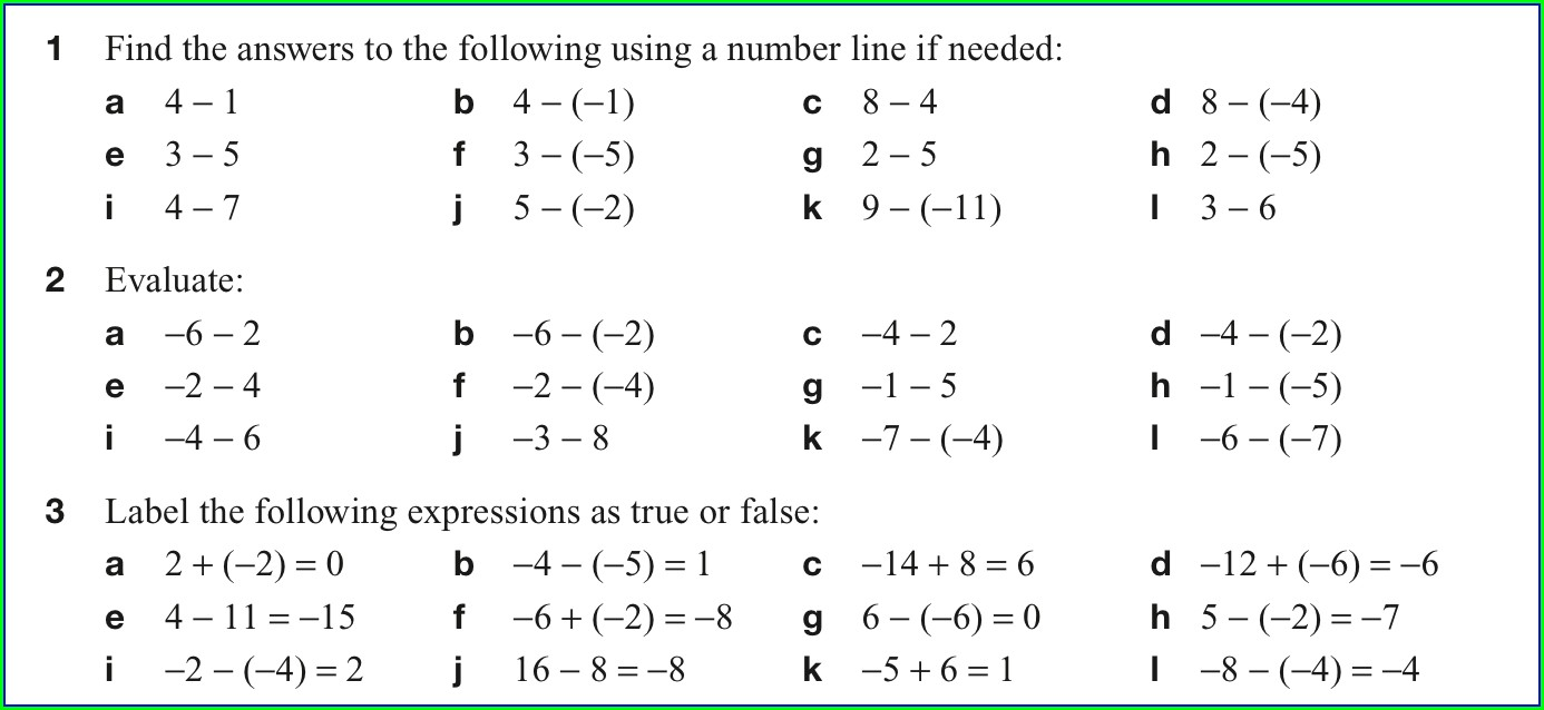 Printable Negative Numbers Worksheet Ks3