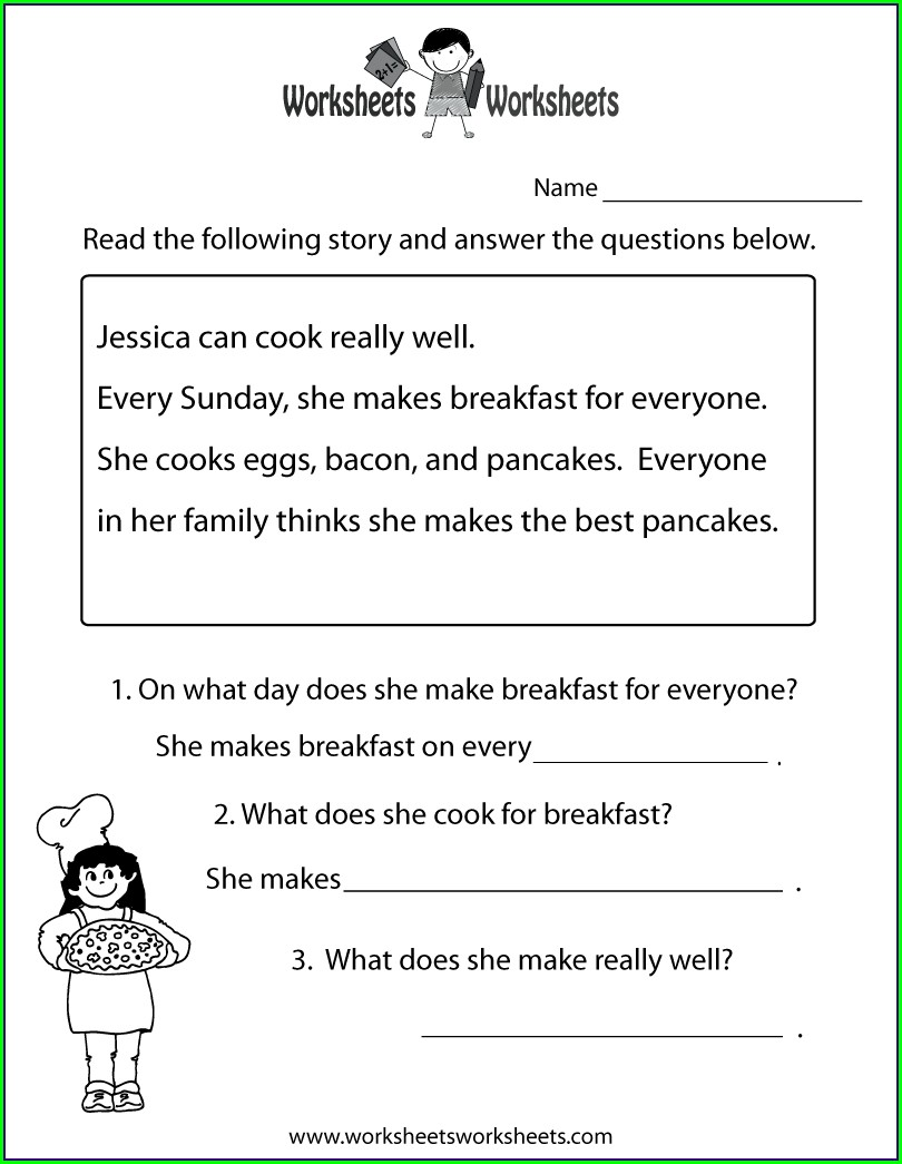 Printable Reading Comprehension Worksheets For High School