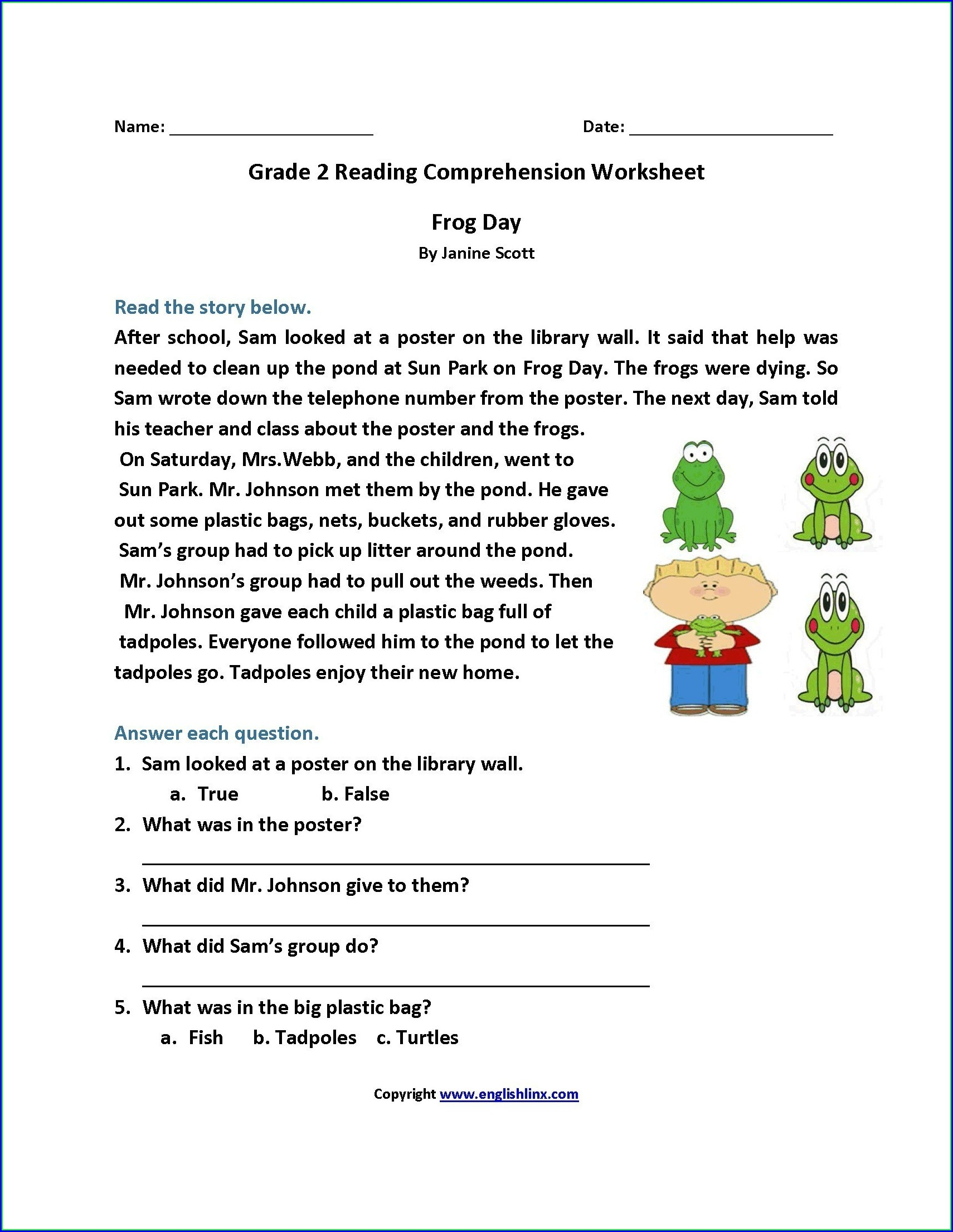 Printable Reading Comprehension Worksheets Grade 4