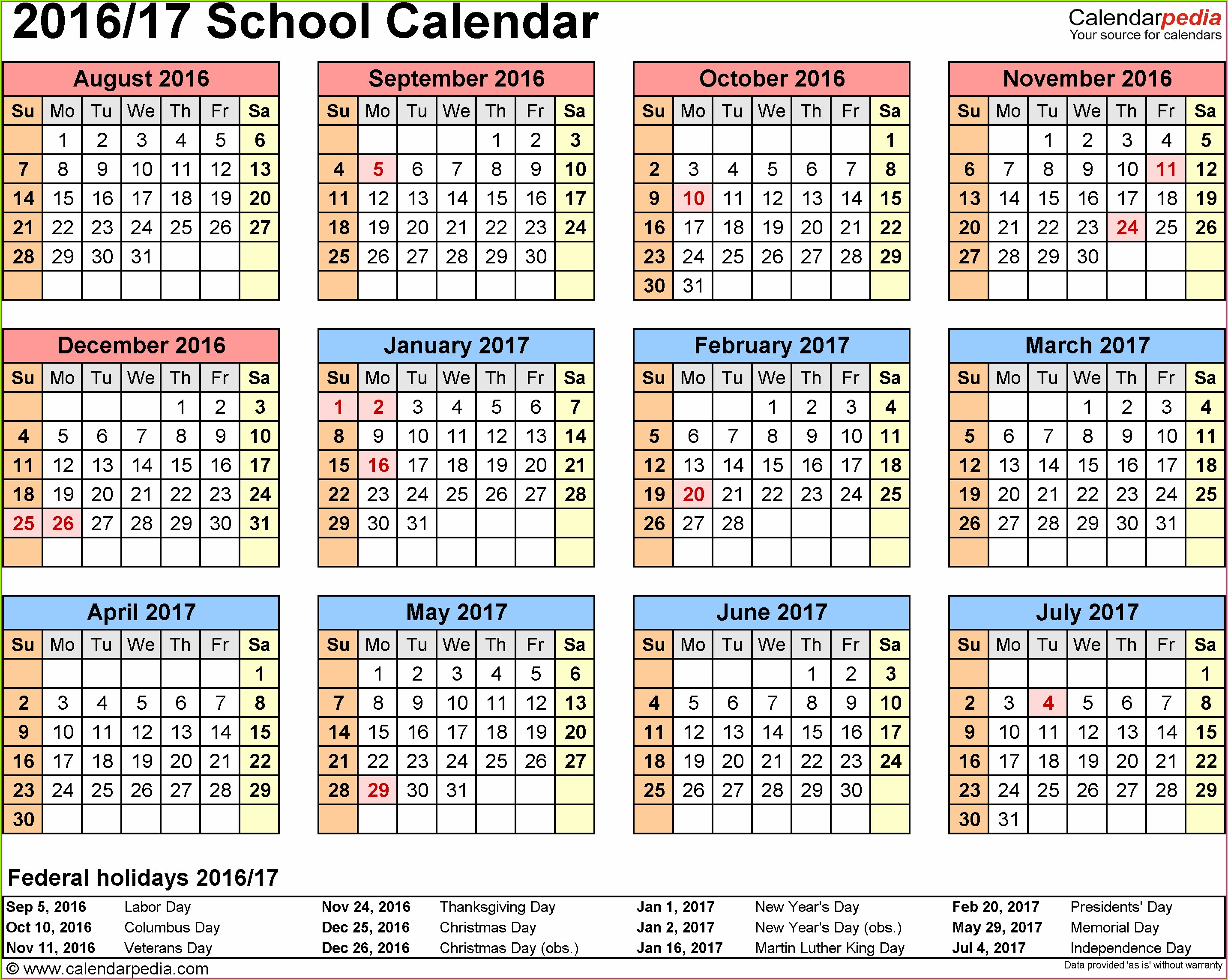 Printable School Calendar 2016 Nsw