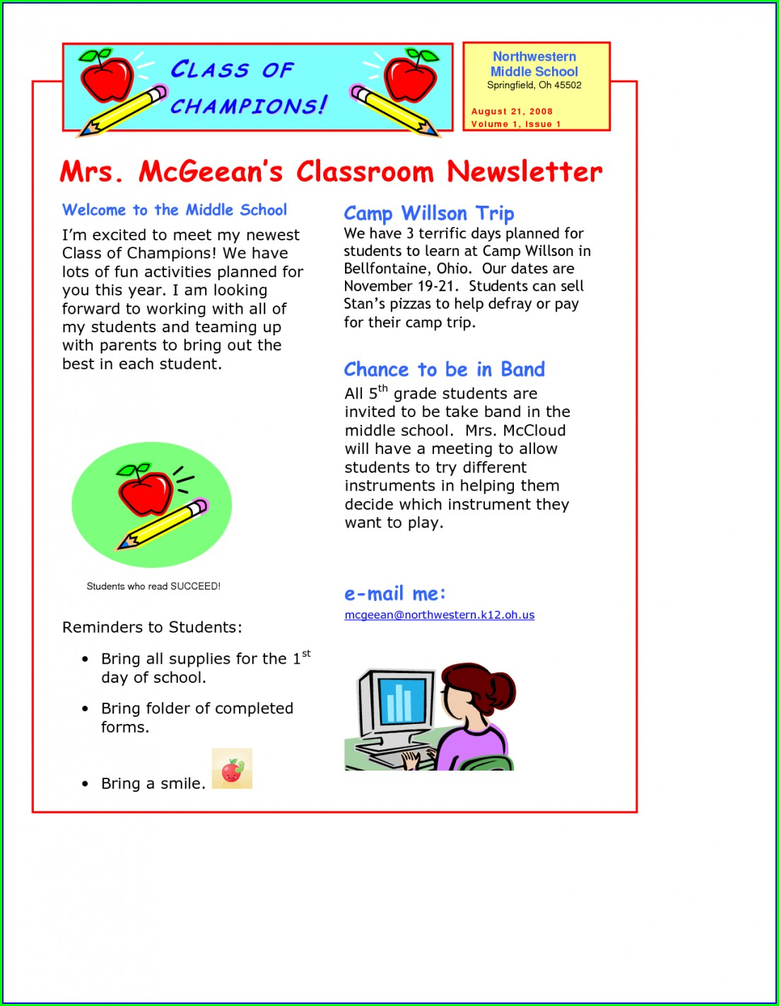 Printable School Newsletter Templates Free