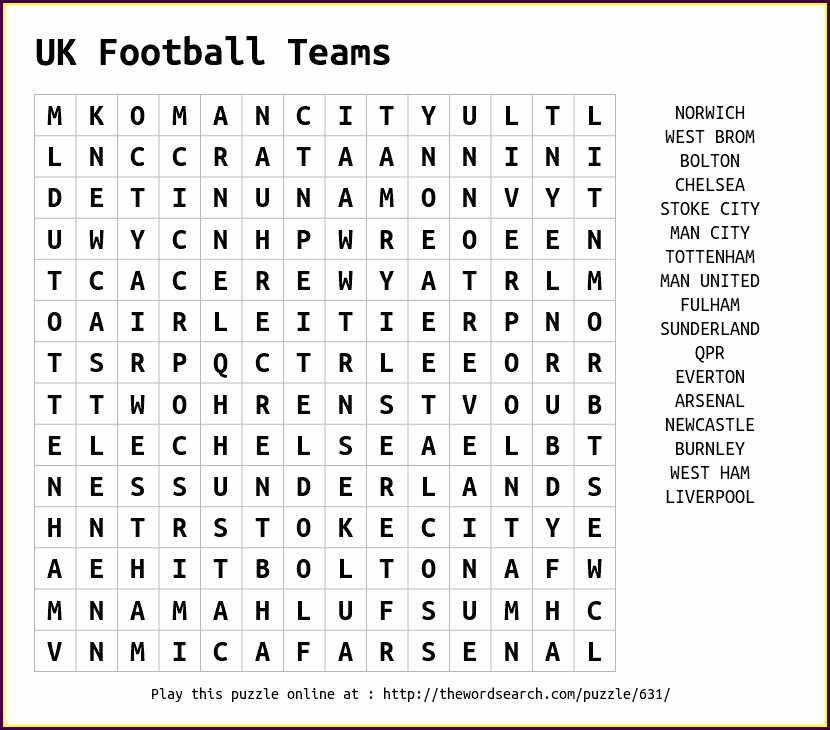 Printable Word Search Football Teams