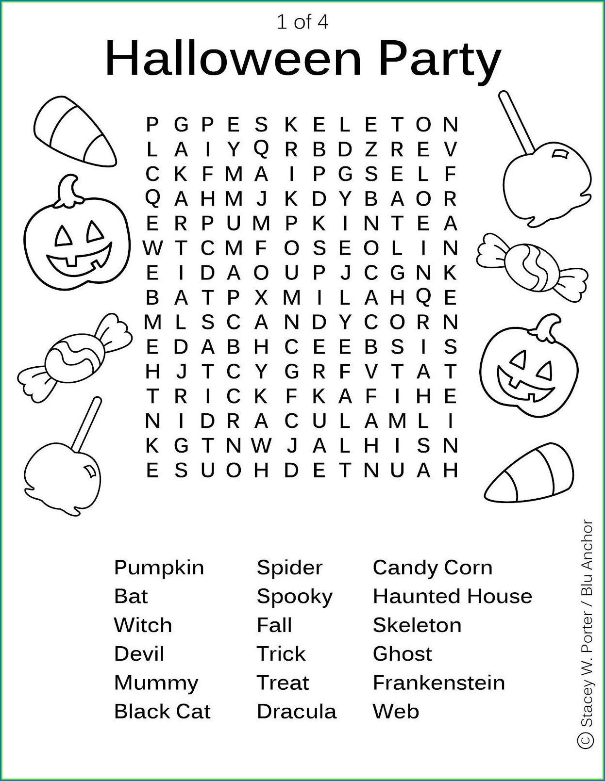Printable Word Searches About Candy
