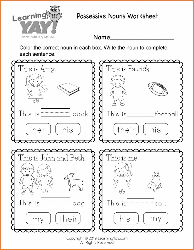 Printable Worksheet For 1st Grade