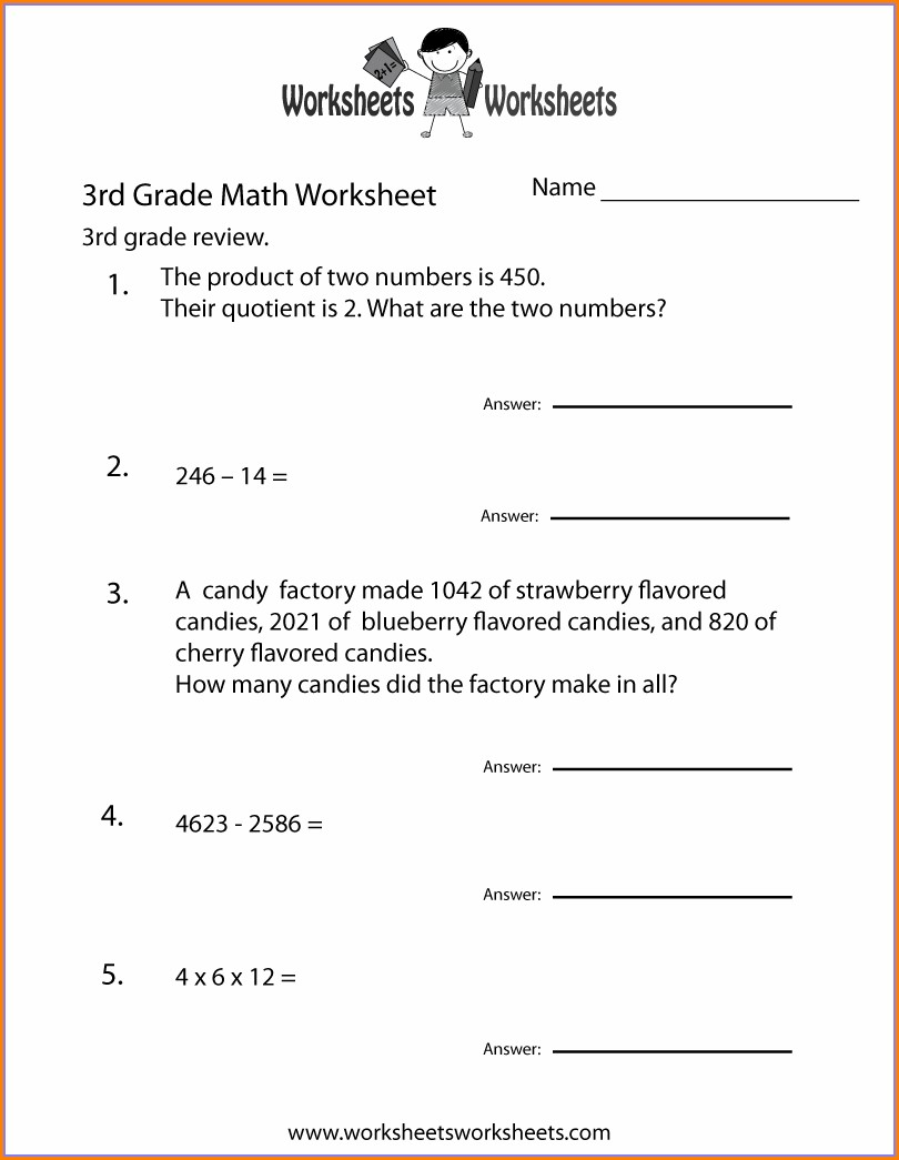 Printable Worksheet For 3rd Grade