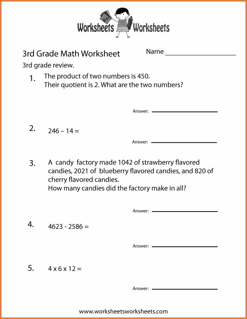 Printable Worksheet For 3rd Grade