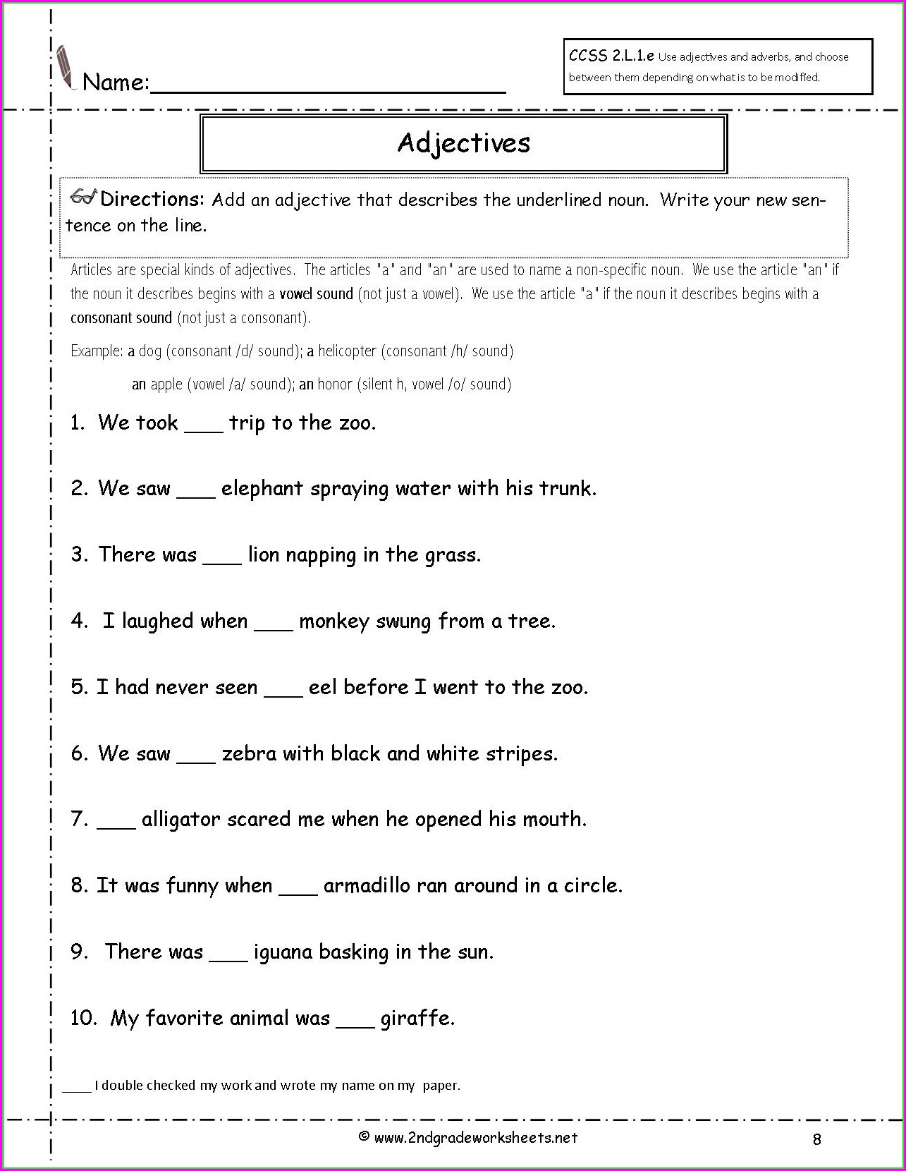 Printable Worksheet For Grade 2 English