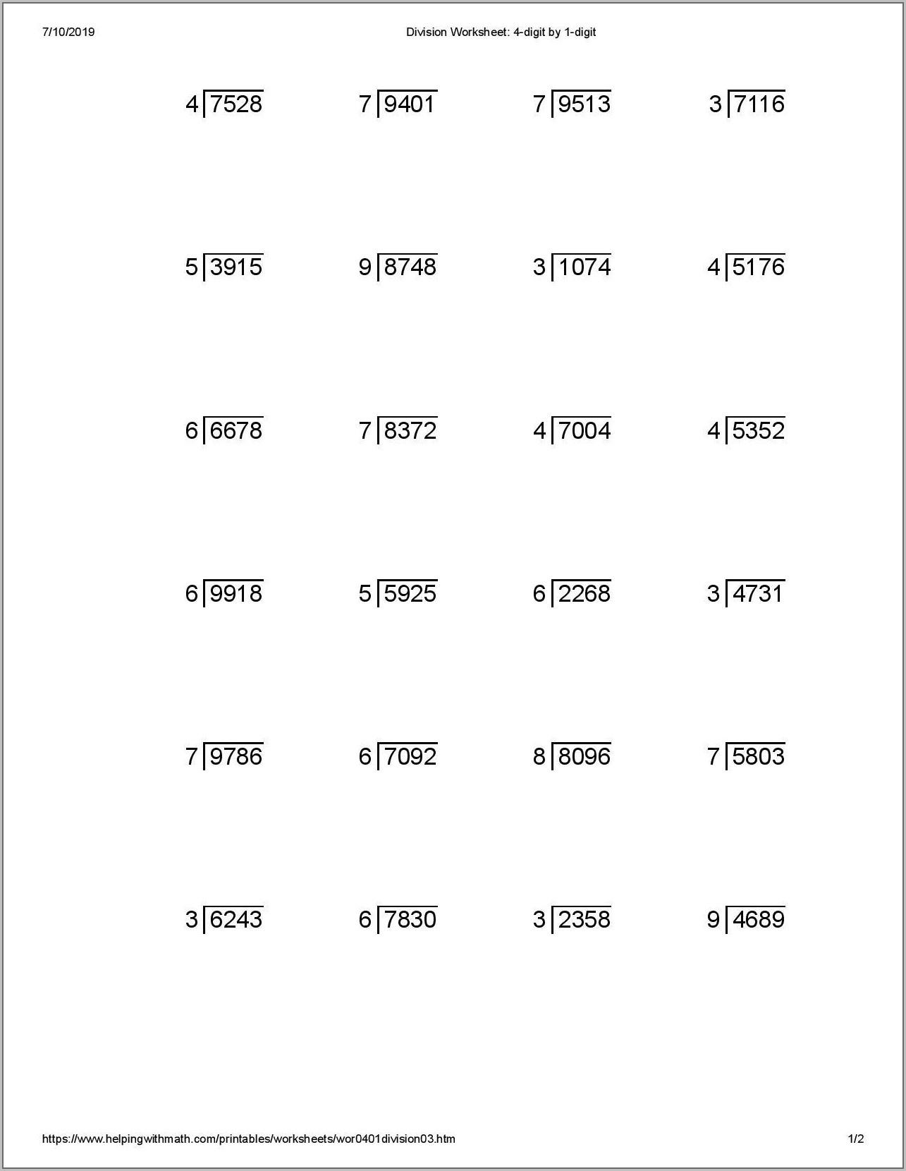 Printable Worksheet For Grade 4