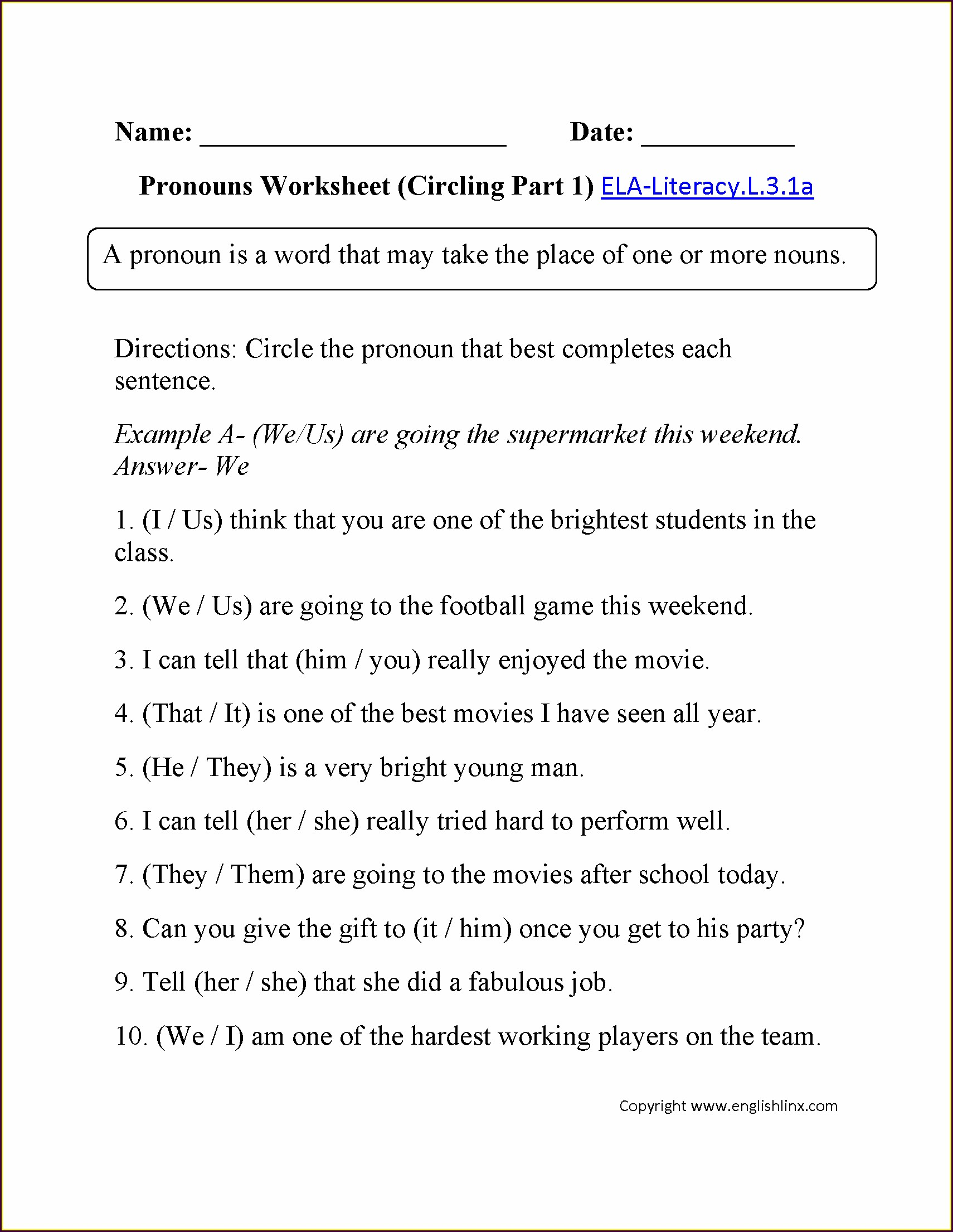 Printable Worksheets For 3rd Grade English