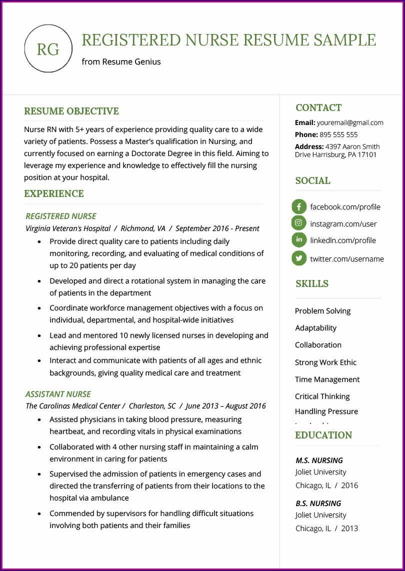 Professional Nursing Resume Samples