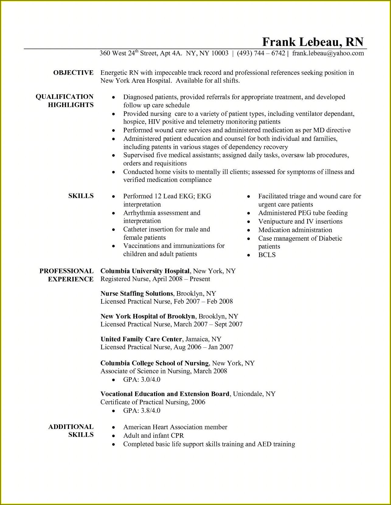 Professional Registered Nurse Resume Examples