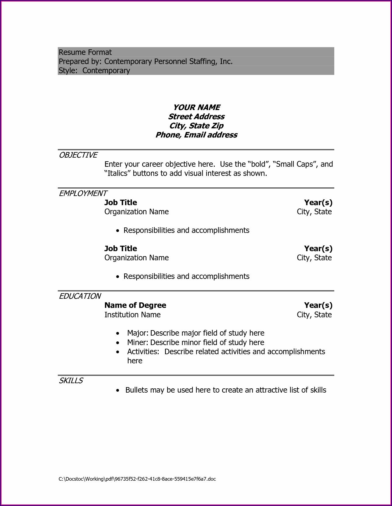 Professional Simple Resume Format Download