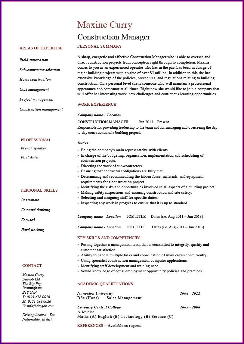 Project Manager Cv Template Word Free