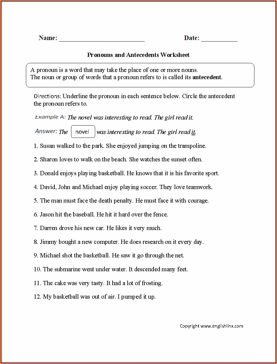Pronouns And Antecedents Worksheets For Grade 2