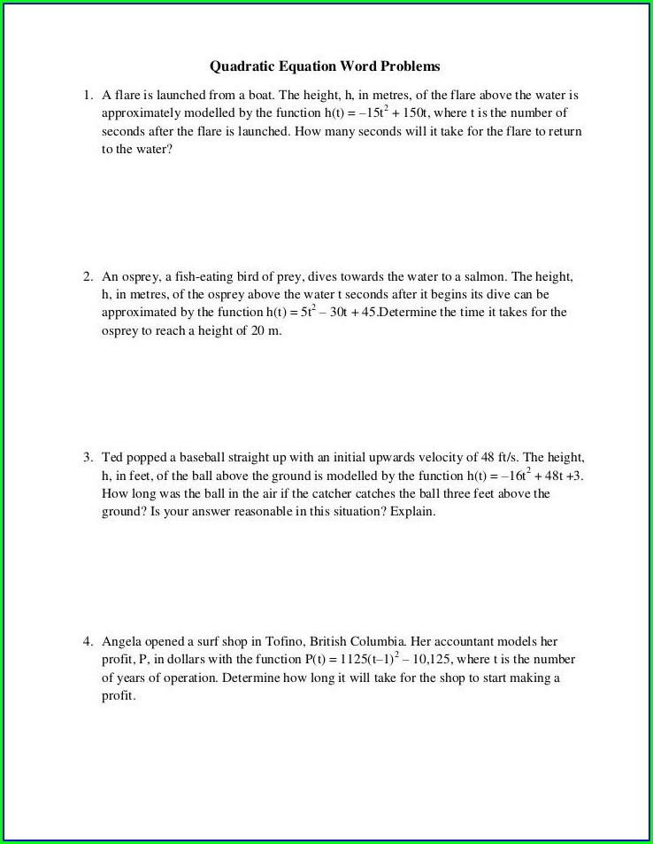 Quadratic Word Problems Worksheet Answers The Empire State Building