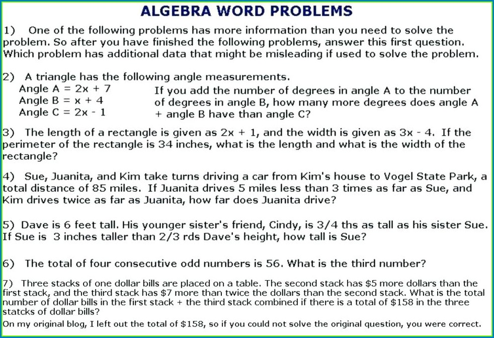 Quadratic Word Problems Worksheet With Answers Pdf