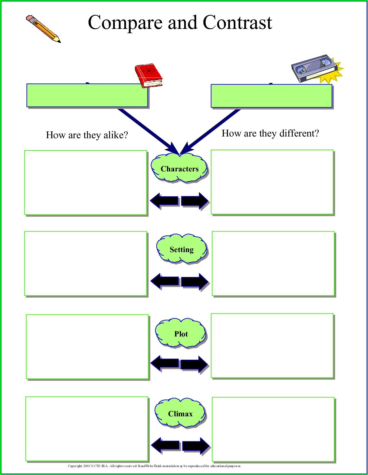 Reading Comprehension Compare And Contrast Worksheets