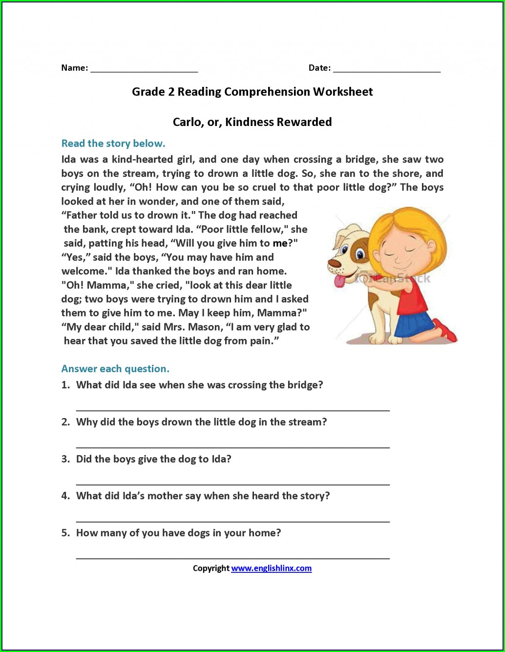 Reading Comprehension Second Grade Worksheets