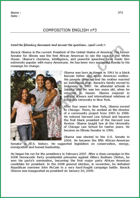 Reading Comprehension Worksheet Barack Obama