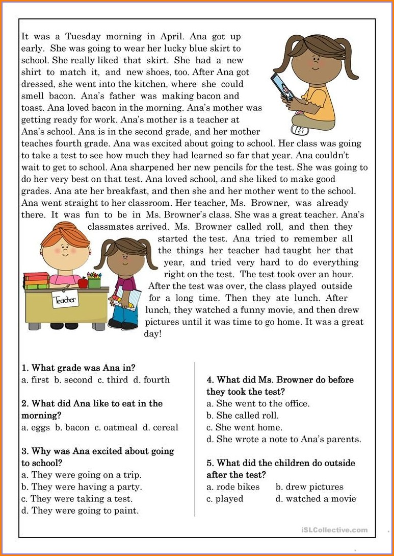 Reading Comprehension Worksheet Elementary