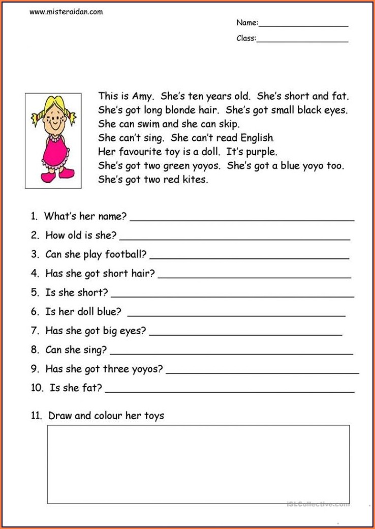 Reading Comprehension Worksheet With Multiple Choice Questions