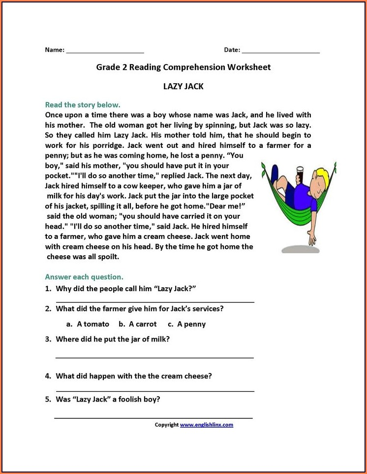 Reading Comprehension Worksheets For 2nd Graders