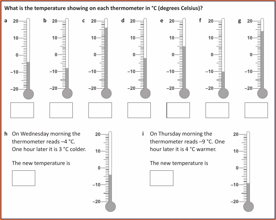 Reading Thermometers Worksheet Ks2