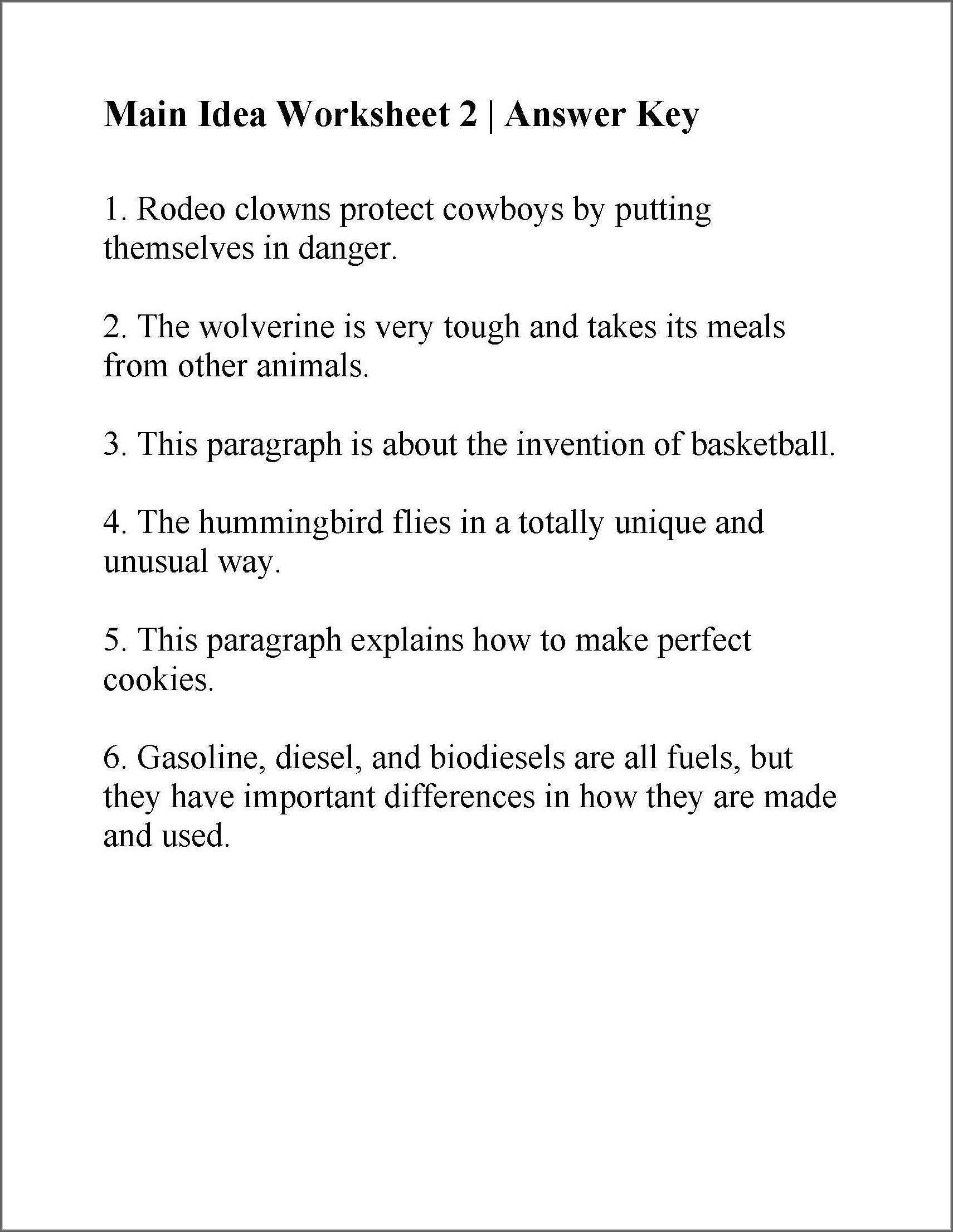 Reading Worksheet Main Idea