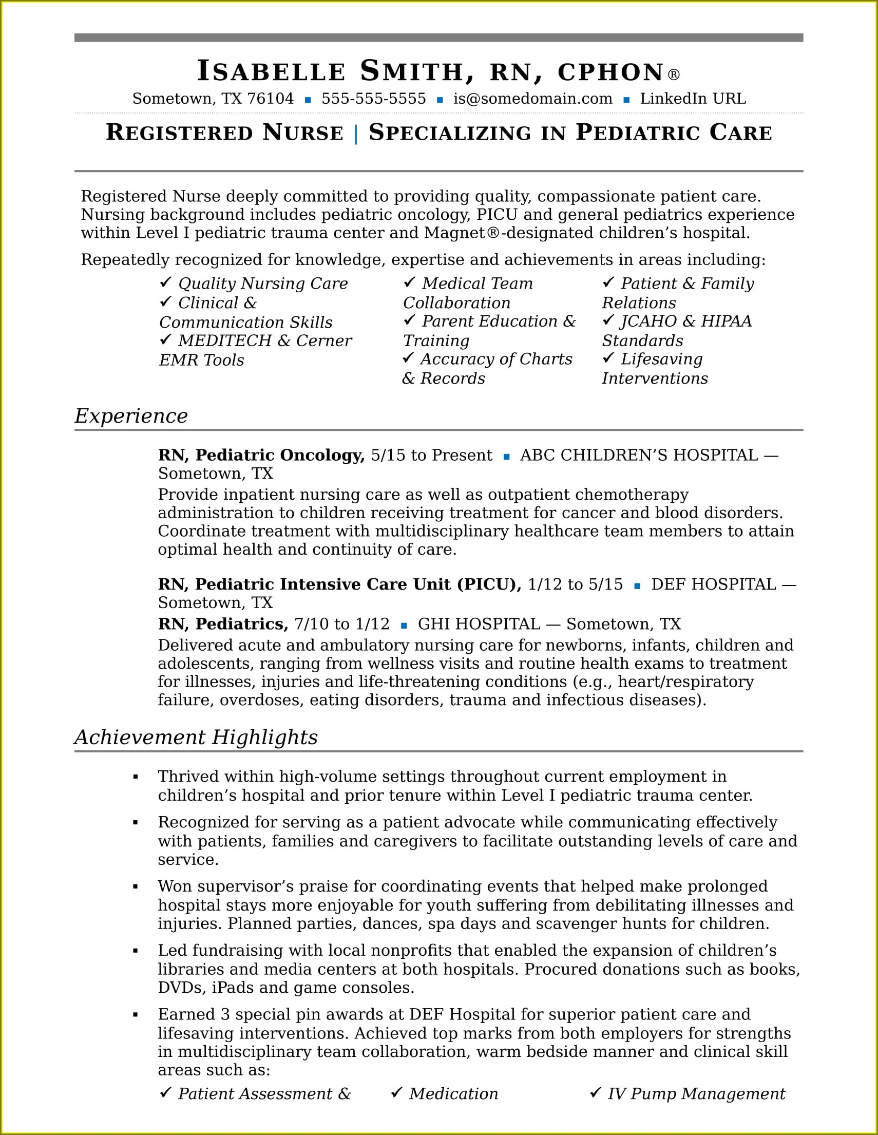 Registered Nurse Resume Examples 2019