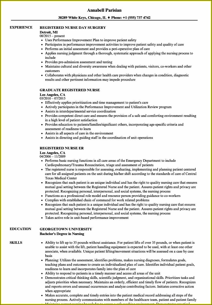 Registered Nurse Resume Skills Examples
