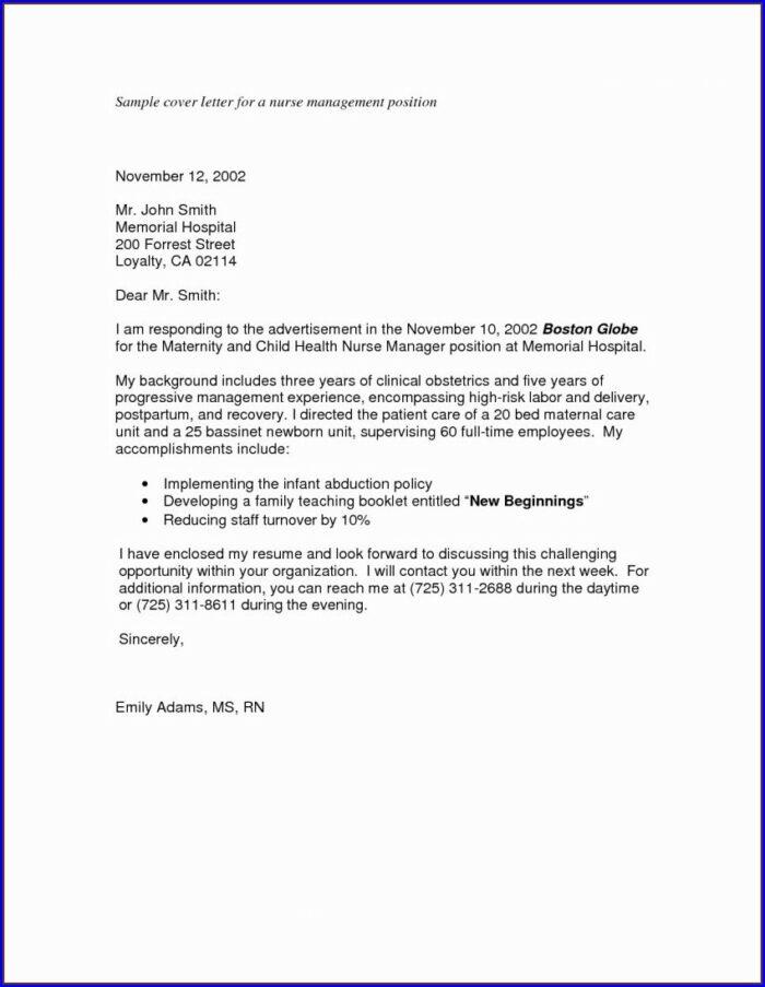 Resume Cover Letter For Rn Position