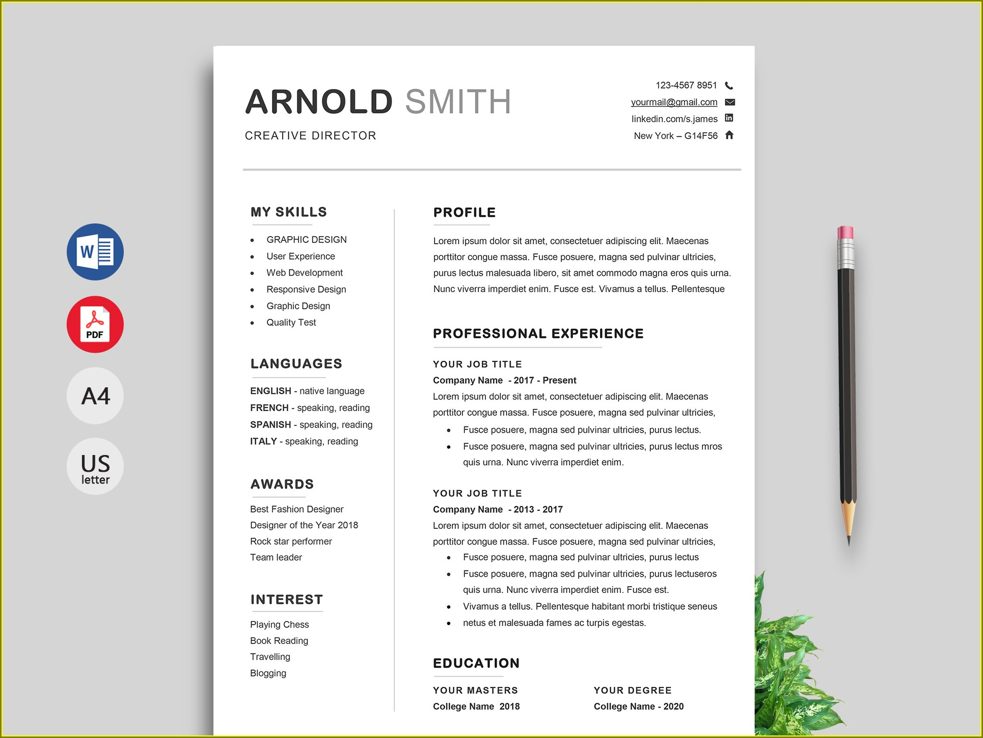 Resume Cv Template Word Free Download