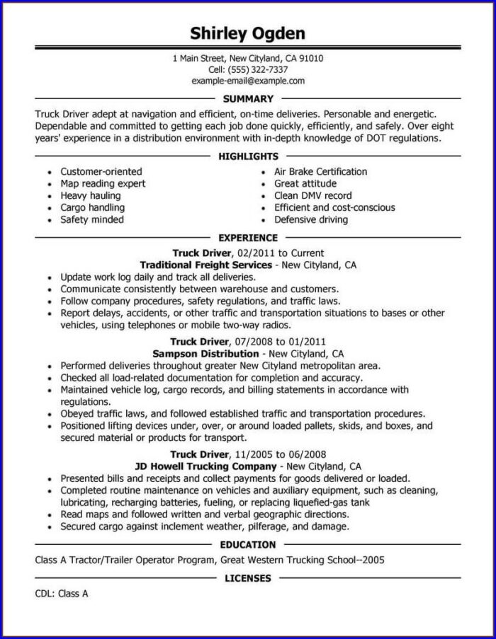 Resume Examples For Truck Drivers