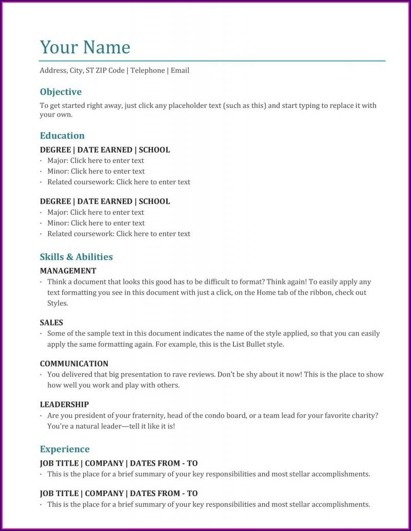 Resume Examples Microsoft Word