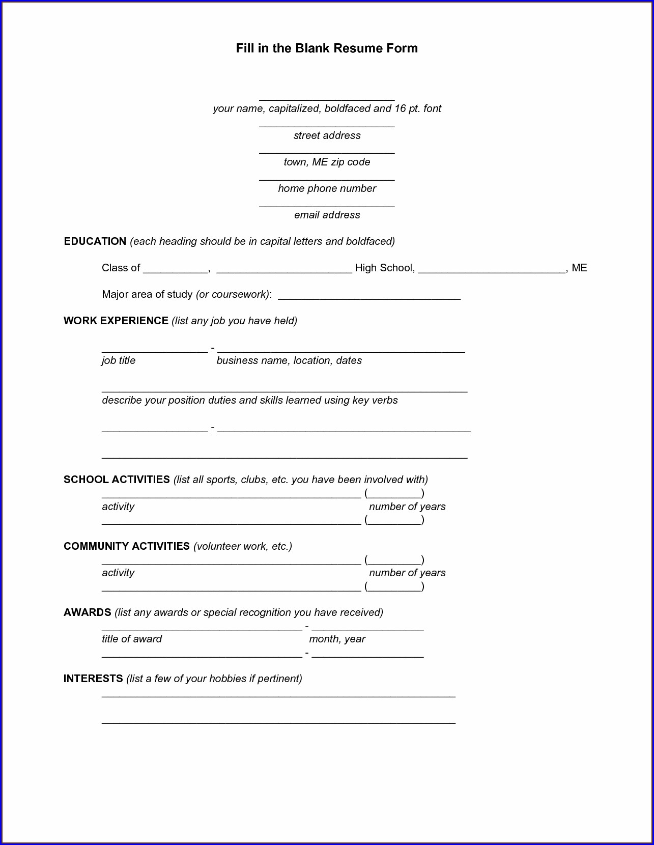 Resume Fill In The Blank Pdf Free Download