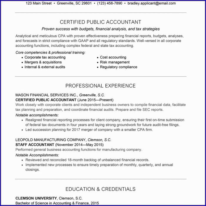 Resume For Accountant Job