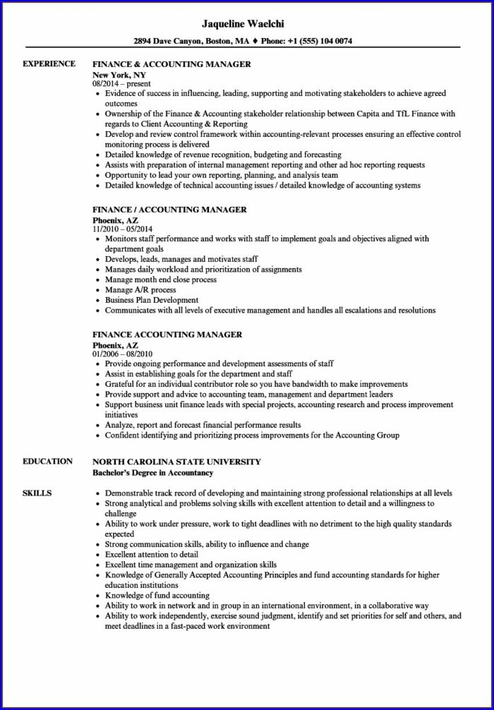 Resume For Accountant Job In India