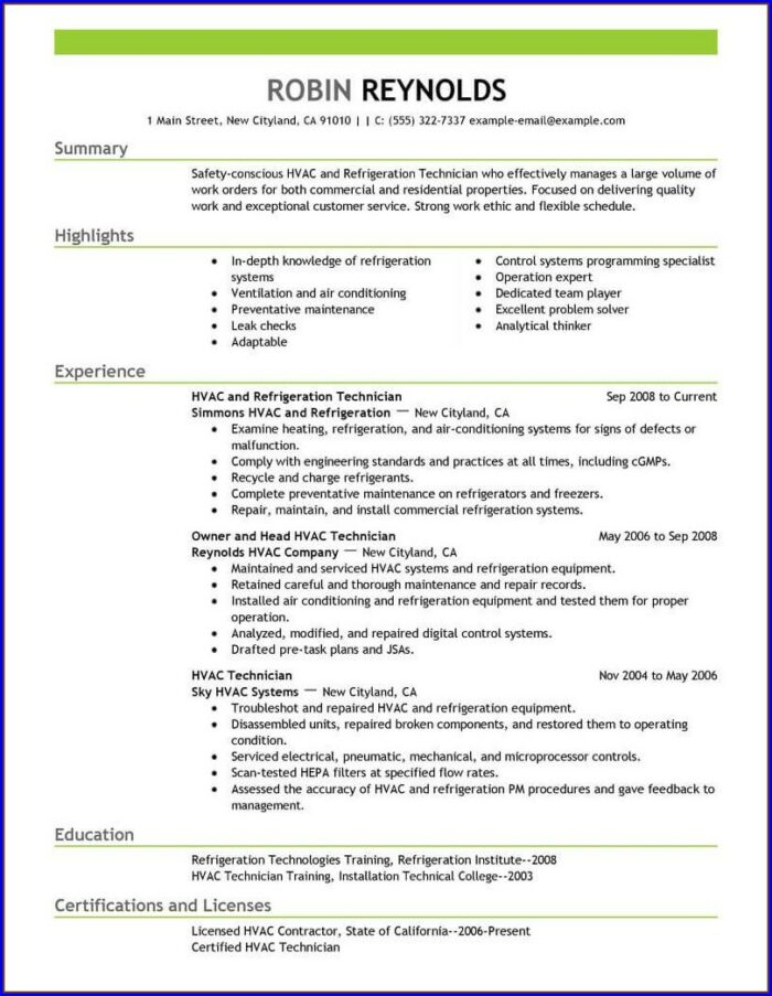 Resume For Air Conditioning Mechanic