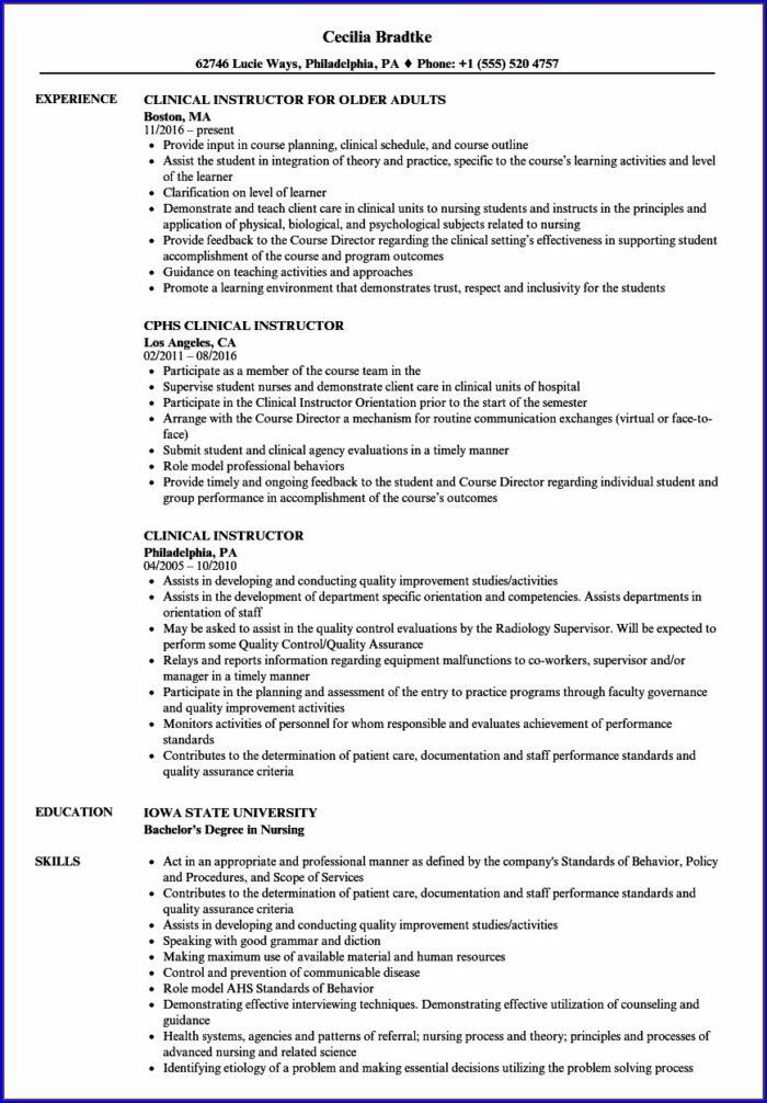 Resume For Nursing Instructor Position
