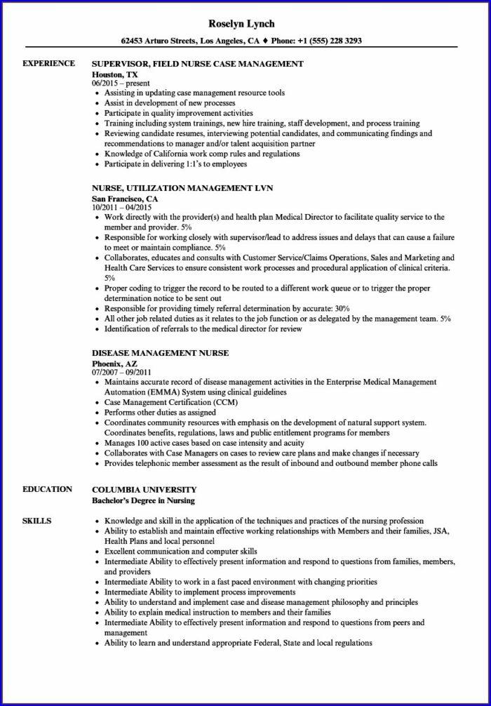Resume For Nursing Leadership Position