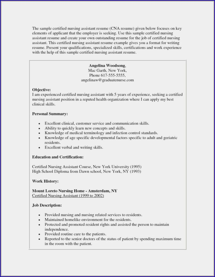Resume For Nursing Position